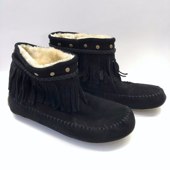 Lucky Brand Shoes - Lucky Brand Moccasin Shearling Suede Fringe Boots